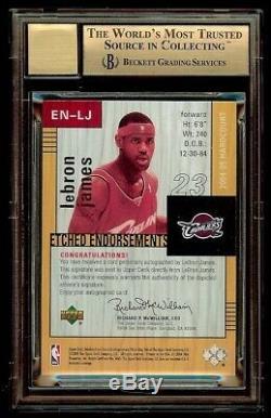 04-05 Lebron James Ud Hardcourt Etched Endorsements 1/1 Bgs 9.5 10 Auto Gem Mint