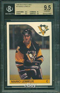 1985 86 Opc #9 Mario Lemieux Rookie Card Bgs 9.5 Gem Mint 10 & X3 9.5`s