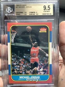 1986 Fleer #57 MICHAEL JORDAN RC #57 HIGH END GEM MINT Chicago Bulls BGS 9.5
