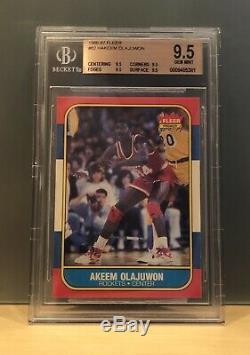 1986 Fleer #82 Hakeem Olajuwon Rookie BGS 9.5 Quad 9.5 Akeem Gem Mint PSA 10