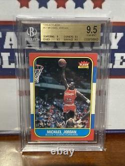 1986 Fleer MICHAEL JORDAN Rookie Card RC Chicago Bulls BGS 9.5 Gem Mint