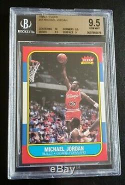 1986 Fleer Michael Jordan Rookie Card #57 BGS 10 PRISTINE CENTERING 9.5 GEM MINT