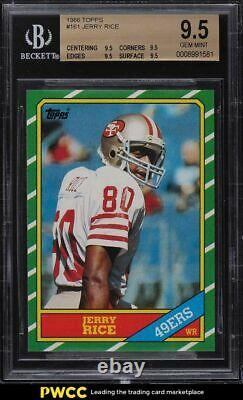 1986 Topps Football Jerry Rice ROOKIE RC #161 BGS 9.5 GEM MINT