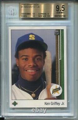 1989 Upper Deck Baseball #1 Ken Griffey Jr Rookie Card Graded BGS Gem Mint 9.5