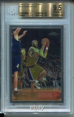 1996 Topps Chrome Basketball 138 Kobe Bryant Rookie Card Graded BGS Gem Mint 9.5