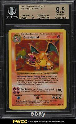 1999 Pokemon Base Shadowless Charizard Holo R BGS 9.5 GEM MINT
