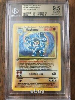 1999 Pokemon TCG Base 1st Edition Machamp Holo Rare #8 BGS 9.5 Gem Mint-Beckett
