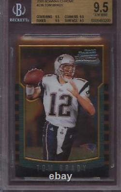 2000 Bowman Chrome 236 Tom Brady BGS 9.5 Gem Mint RC Rookie Card Quad 9.5