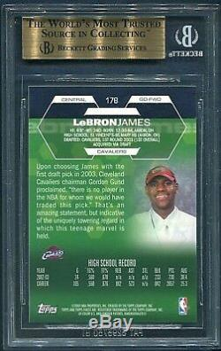 2002-03 TOPPS FINEST LeBRON JAMES (TRUE-ROOKIE) CARD #178 (BGS-9.5, GEM-MINT)