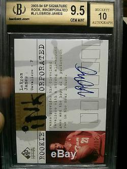 2003-04 SP Signature LeBron James Rookie Auto BGS 9.5 Auto 10 GEM MINT