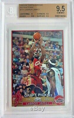 2003-04 Topps Chrome Refractor Lebron James BGS 9.5 Gem Mint Lakers ROOKIE RC