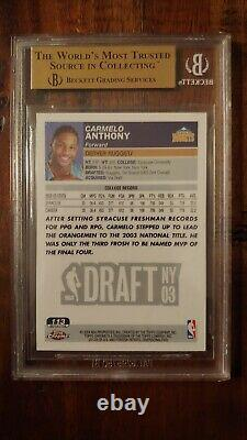 2003 Topps Chrome Refractor Carmelo Anthony Rookie Rc Gem Mint Bgs 9.5