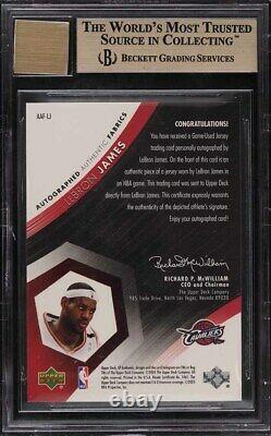 2004 SP Authentic Fabrics LeBron James PATCH AUTO /50 #LJ BGS 9.5 GEM MINT