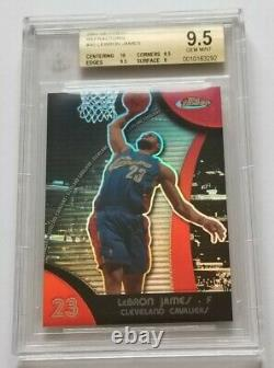 2007-08 FINEST LEBRON JAMES RED REFRACTOR BGS 9.5 GEM MINT with 10 CENTERING