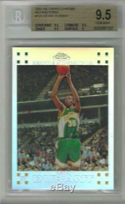 2007-08 Kevin Durant Topps Chrome Refractor RC- BGS 9.5 Gem Mint. #119/1499