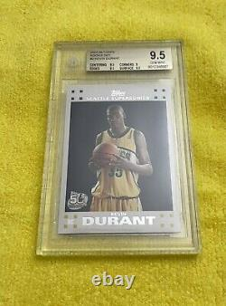 2007 Topps #2 KEVIN DURANT Seattle Supersonics RC Rookie Card BGS 9.5 Gem Mint