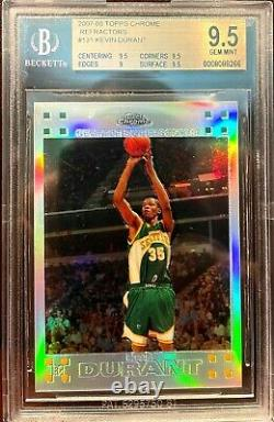 2007 Topps Chrome Refractor Kevin Durant ROOKIE RC /1499 #131 BGS 9.5 GEM MINT