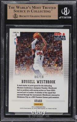 2012 Panini Prizm USA Gold Russell Westbrook /10 #4 BGS 9.5 GEM MINT