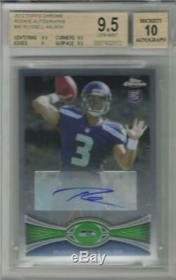 2012 Russell Wilson Topps Chrome Auto RC. Graded BGS 9.5 Gem Mint