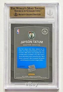 2017-18 Donruss Optic JAYSON TATUM /175 Lime Green Prizm Rookie BGS 9.5 Gem Mint