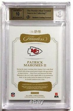 2017 Flawless PATRICK MAHOMES /20 Silver Rookie Patch Auto BGS 9.5/10 Gem Mint
