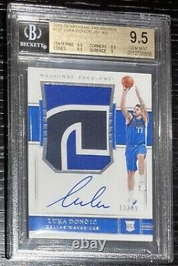 2018 National Treasures Luka Doncic ROOKIE RC JSY AUTO /99 #127 BGS 9.5 GEM MINT