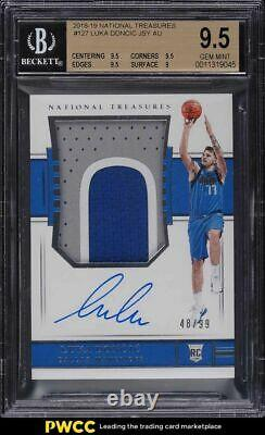 2018 National Treasures Luka Doncic ROOKIE RC PATCH AUTO /99 BGS 9.5 GEM MINT