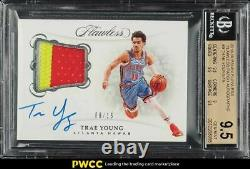 2018 Panini Flawless Trae Young ROOKIE RC PATCH AUTO /15 #PATYG BGS 9.5 GEM MINT
