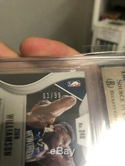 2019-20 Zion Williamson Rookie Prizm Blue Cracked Ice BGS 9.5 /99 Gem mint Pop 1