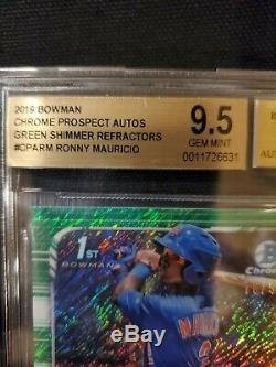 2019 Bowman Chrome Ronny Mauricio Auto Green Shimmer 76/99 BGS 9.5 Gem Mint