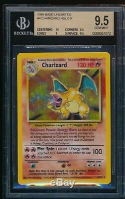 BGS 9.5 CHARIZARD 1999 Pokemon Base #4/102 Holo RARE GEM MINT with10 Centering PSA