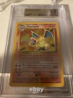 BGS 9.5 Gem Mint. 1999 Pokémon Base Unlimited Charizard Holo 4/102 Psa 10
