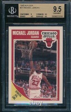 BGS 9.5 MICHAEL JORDAN 1989-90 89-90 Fleer Chicago Bulls HOF GOAT RARE GEM MINT