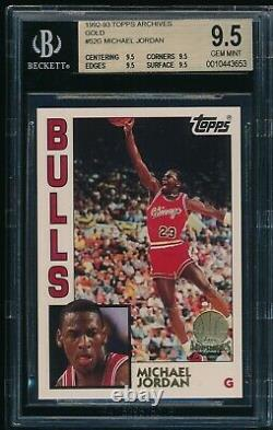 BGS 9.5 (QUAD) MICHAEL JORDAN 1992-93 Topps Archives Gold #52G Bulls GEM MINT