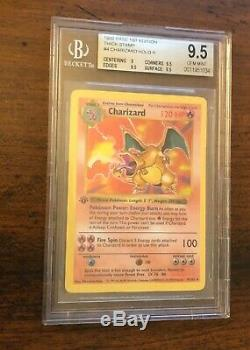 Bgs 9.5 Gem Mint 1st Edition Base Shadowless Charizard Thick Stamp Pokemon 4/102