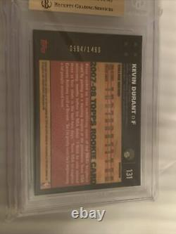 Kevin Durant 2007 2008 Topps Chrome Refractor RC Gem Mint BGS 9.5 QUAD 9.5 Subs
