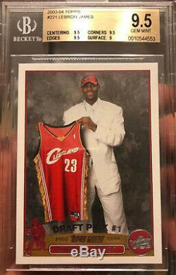 LeBRON JAMES Rookie Card 2003 Topps #221 GEM Mint 9.5 BGS Beckett RC Lakers HOF