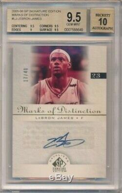 Lebron James 2005/06 Sp Signature Marks Distinction Auto /40 Bgs 9.5 Gem Mint 10