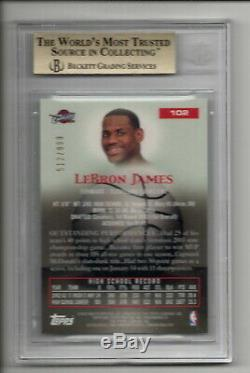 Lebron James Rc 2003-04 Topps Pristine #102 Rookie /999 Bgs 9.5 X4 True Gem Mint