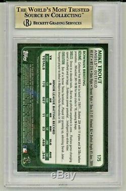 MIKE TROUT 2011 Bowman Chrome Rookie Card RC BGS 9.5 Gem Mint #175 TRUE GEM