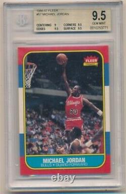 Michael Jordan 1986/87 Fleer #57 Rc Rookie Card Chicago Bulls Bgs 9.5 Gem Mint