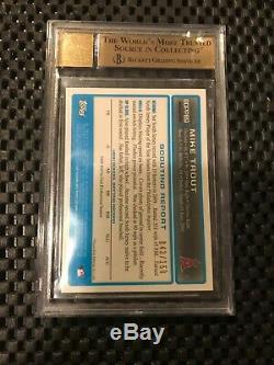 Mike Trout 2009 Bowman Chrome Blue Refractor Auto #043/150 Bgs 9.5/10 Gem Mint