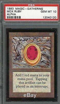 Mtg Alpha Mox Ruby PSA 10 (gem mint, bgs 9.5 quality)