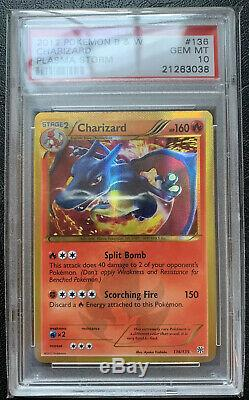 PSA 10 Charizard Gem Mint 136/135 B&W Plasma Storm Secret Rare Pokemon BGS