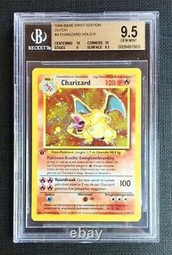 Pokemon BGS 9.5 Dutch Charizard Holo 1st Ed. Holo Base Set #4/102 Gem Mint