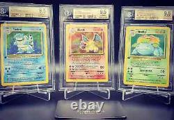 Pokemon Glurak Turtok Bisaflor Charizard Base Set 1. Edition BGS9.5Q+ GemMint Set