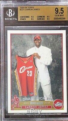 QUAD BGS 9.5 = PSA 10 2003 Topps LeBron James ROOKIE RC #221 True GEM MINT
