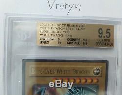 YuGiOh! Blue Eyes White Dragon LOB-001 1st Edition BGS 9.5 GEM MINT GLOSSY