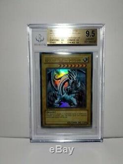 Yu-Gi-Oh! BGS 9.5 Gem Mint Blue Eyes White Dragon LOB-001 1st Ultra Rare PSA 10
