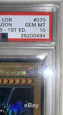 Yugioh PSA 10 wavy Red Eyes Black Dragon 1st Edition Gem Mint LOB-070 BGS